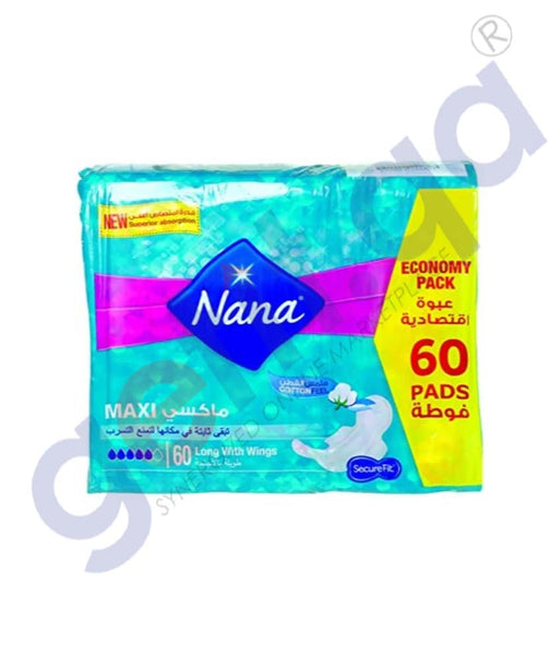 GETIT.QA | Buy Nana Maxi Long Wings 60 Pads Price Online in Doha Qatar