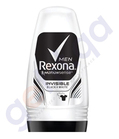 BUY REXONA DEODORANT ROLL ON (MEN) INVISIBLE BLACK+WHITE (VENUS) 50ML IN QATAR