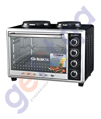 BUY ELEKTA 43LTR ELECTRIC OVEN TOASTER WITH 2 HOT PLATES AND ROTISSERIE IN QATAR