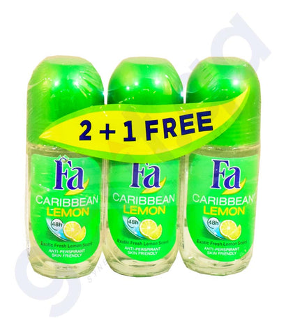 Buy Fa Caribbean Lemon Roll on 3*50ml 2+1 Free Online Qatar