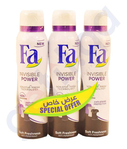Buy Fa Deodorant Invisible Power 3*150ml Offer Online Qatar