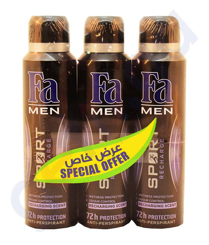 Buy Fa Men Sport Recharge Deodorant 3*150ml Online in Qatar