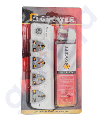 Buy GPower 3 Mtr 4 Way Socket Extension Online Doha Qatar