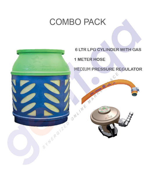 LPG COMBO PACK 6LTR CYLINDER WITH GAS + REGULATOR + 1M HOSE