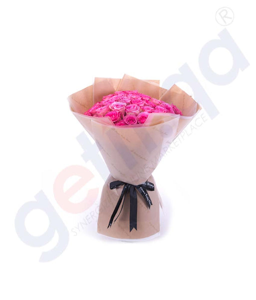 Buy Roses en Rose Hand Bouquet Price Online Doha Qatar