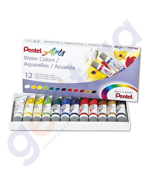 BUY BEST QUALITY PENTEL WATER COLOUR SET 12 COLOR - PE-WFRS-12 ONLINE IN QATAR