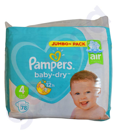 Buy Pampers ML Diaper M6 S4 1*78Pcs Online in Doha Qatar