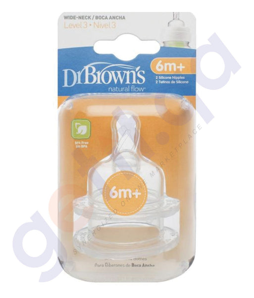 BUY DR BROWN LEVEL 3 SILICONE WIDE-NECK OPTIONS NIPPLE, 2-PACK - 382-INTL IN QATAR