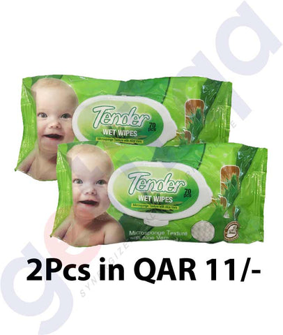 Buy Tender Wipes Alo Vera 70Pcs-2Packs Online in Doha Qatar