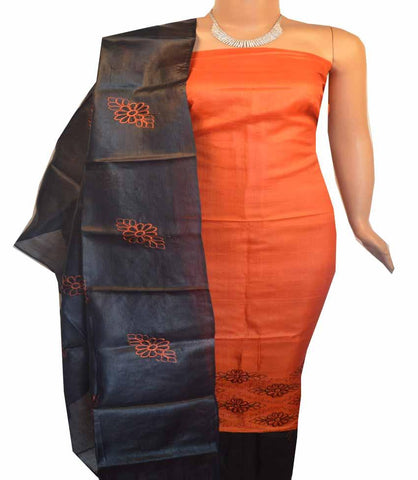 Buy Churidar Material Orange Black 180100302 in Doha Qatar