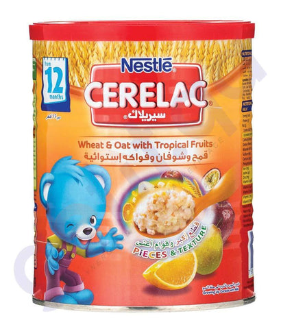 BABY FOOD - NESTLE CERELAC 12 MONTHS WHEAT & OAT WITH TROPICAL FRUITS- 400GM