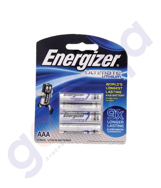 BATTERIES - ENERGIZER ULTIMATE LITHIUM AAA BATTERY - L92BP4