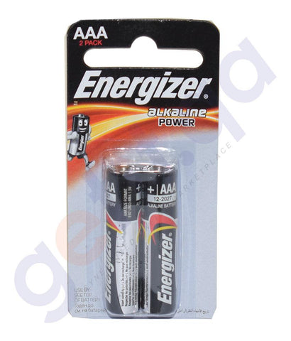 Buy Energizer Alkaline Power AAA BP2 Battery 2pc Doha Qatar