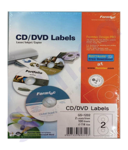 BINDING & LAMINATION - FORMTEC CD LABEL 114(41.0)MM PAK=100SHT - FT-GS-1202