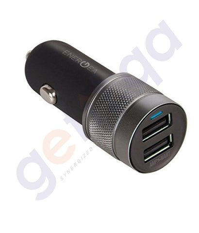 CAR CHARGER - ENERGEA ALU DRIVE 4.8AMPS DUAL USB CAR CHARGER-GUNMETAL