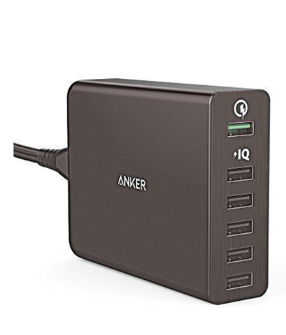 Charger - Anker 60W 6-Port Desktop Charger (EU)  - Offline Packaging A2123L12 - Black