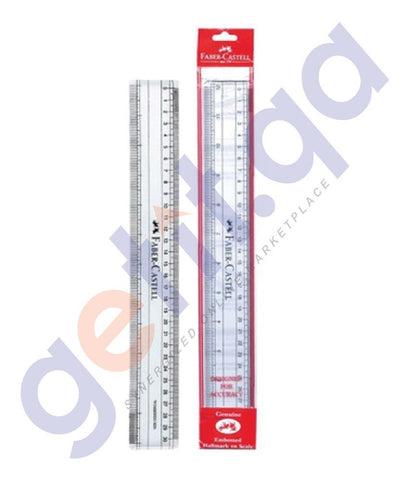 DESK ACCESORIES - RULER CLEAR PLASTIC 30CM FCIN171220-10 BY FABER CASTELL