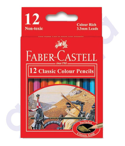 Drawing And Modelling Items - CLASSIC COLOR PENCIL12SHORT H/TAB BY FABER CASTELL