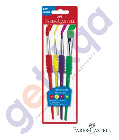Drawing And Modelling Items - GRIP PAINT BRUSH 4PC FCC181600 BY FABER CASTELL