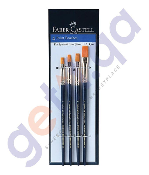 Drawing And Modelling Items - XXX SYNTHETIC HAIR BRUSH FLAT ASSORTED BY FABER CASTELL