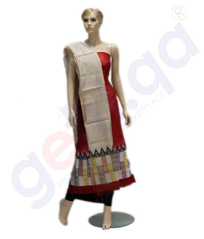 Get Churidar Material:- Top in Printed Raw Silk , Duppata in  Printed Raw Silk   and  Bottom in  Cotton Silk (Un-stitched)-160100293 at your doorstep with free delivery and stiching services also available in Qatar