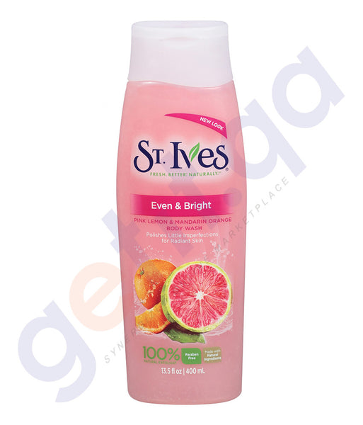 BUY ST.IVES 400ML EVEN & BRIGHT PINK LMN & MNDRIN EXFOLIATING BODY WASH IN QATAR
