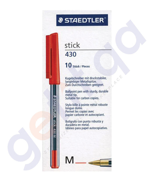BUY STAEDTLER STICK 430 MEDIUM - RED - ST-430M-02T PACK OF 10 ONLINE IN QATAR