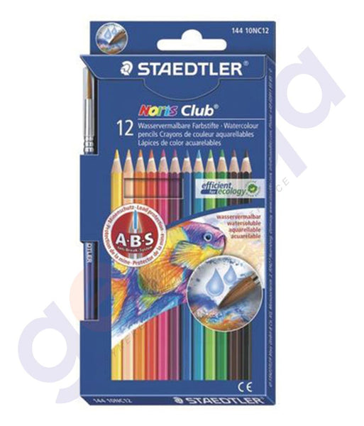 BUY STAEDTLER AQUARELL W/COLOR. PENCIL W/BRUSH 12P - ST-144-10-NC12 IN QATAR