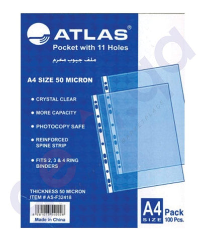 Files, Dividers & Folders - ATLAS GLASS CLEAR POCKET PP 50MICRON A4 BOX=100  AS-F32418