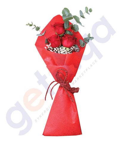FLOWER - 3 FREEDOM RED ROSES WITH EUCALIPTUS IN RED WRAP