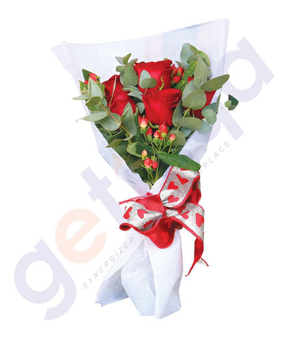 FLOWER - 6 RED ROSES WITH HYPIRICUM AND EUCALIPTUS LEAVES IN WHITE WRAP