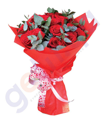 FLOWER - FREEDOM RED ROSE WITH EUCALIPTUS FILL  BOUQUET IN RED WRAP