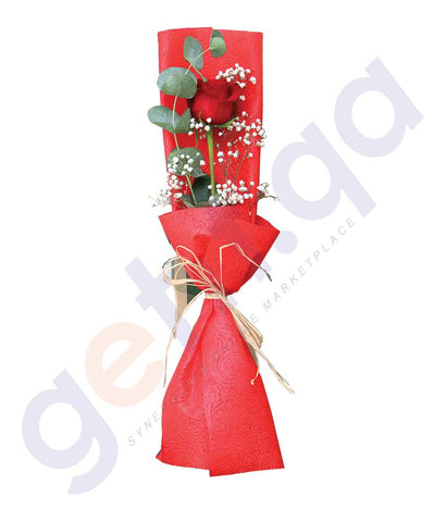 FLOWER - SINGLE RED ROSE, GYPSO AND EUCALIPTUS FILLERS IN RED WRAP