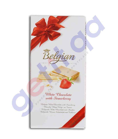 FOOD - BELGIAN WHITE CHOCOLATE W/STRAWBERRY 100g