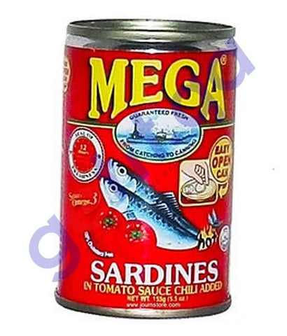 FOOD - MEGA  SARDINES IN TOMATO SAUCE CHILLI ADDED 155G