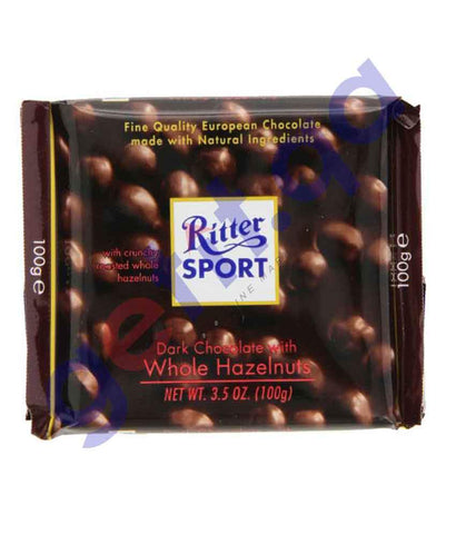 FOOD - RITTER SPORT DARK CHOCOLATE WITH WHOLE HAZELNUTS 100 GM