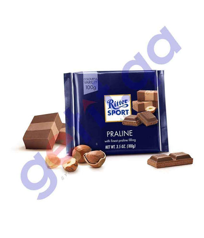 FOOD - RITTER SPORT MILK CHOCOLATE W/PRALINE 100 GM