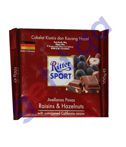 FOOD - RITTER SPORT RAISINS AND HAZELNUT 100 GM