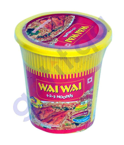 FOOD - WAI WAI CUP NOODLES CHICKEN FLAVOUR 65 GM