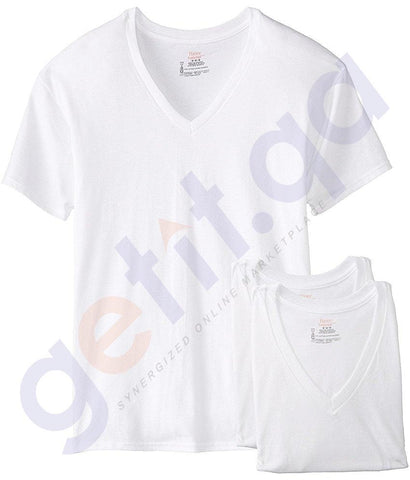 INNERWEAR - HANES MEN'S V-NECK T-SHIRT- 3 PIECE PACK- 777