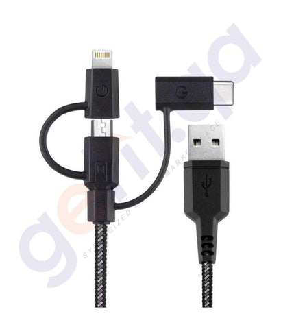 Lightining Cable - ENERGEA NYLO TOUGH 3IN1 CABLE MICRO LIGHTNING MFI USB-C CHARGE AND SYNC - 1.5M