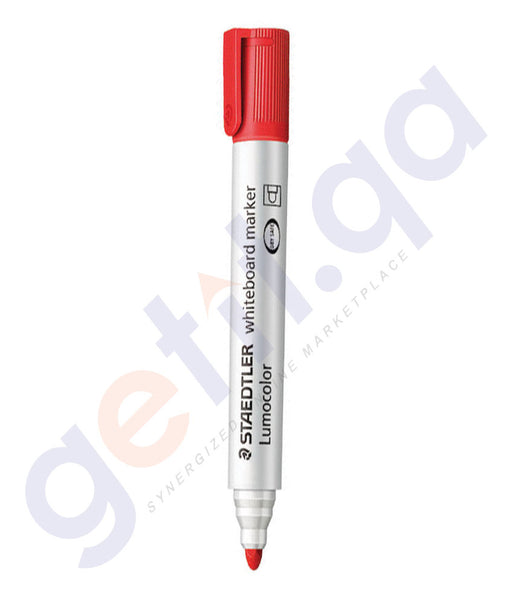 BUY STAEDTLER WHITE BOARD MARKER BULLET TIP-RED - ST-351-02 PACK OF 10 IN QATAR