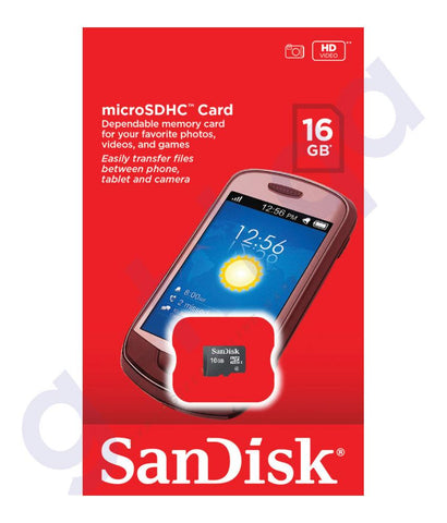 MEMORY CARD - SANDISK 16GB MICRO SD MEMORY CARD