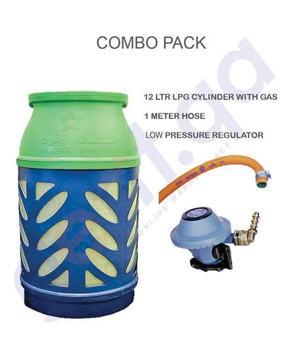 LPG COMBO PACK 12LTR CYLINDER WITH GAS + REGULATOR + 1M HOSE