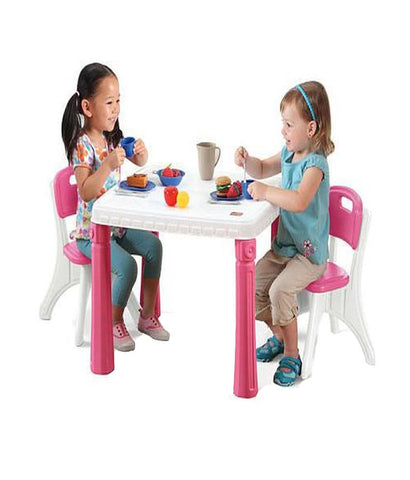 Outdoor Toys - Step2 Lifestyle Kitchen Table And Chairs Set, Pink 719600 (2+ Years)