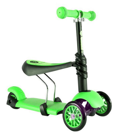 Outdoor Toys - Y VOLUTION YGLIDER 3 IN 1 BLACK/GREEN (4L CL 2PK) KIDS KICK SCOOTER - 100072