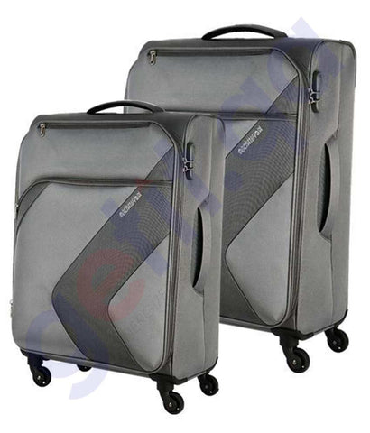 Buy American Tourister Standford 2pc 55+82cm Grey Doha Qatar