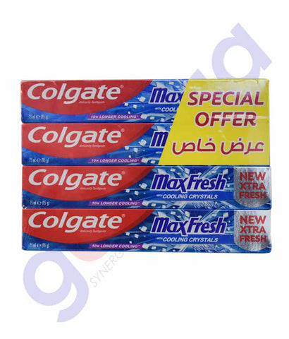 Buy Colgate Max Fresh Cool Mint 4x75ml Online Doha Qatar