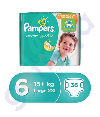 PAMPERS - PAMPERS BABY-DRY DIAPERS SIZE 6 LARGE XXL 15+KG  - 36PCS