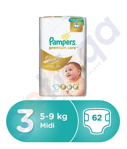 PAMPERS - PAMPERS PREMIUM CARE DIAPERS  SIZE 3  MIDI  5-9 KG - 62 PCS